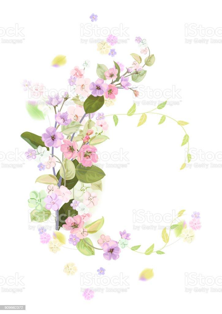 Ilustración de Marco Redondo Con Flor De Primavera Ramas Con Flores ...