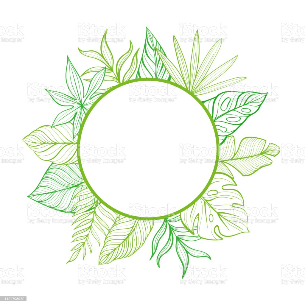 Round Frame With Tropical Leaves Template For Your Postcard Handdrawn Linear Illustration Stock Illustration Download Image Now Istock Are you searching for tropical leaves png images or vector? https www istockphoto com vector round frame with tropical leaves template for your postcard hand drawn linear gm1124708072 295362499