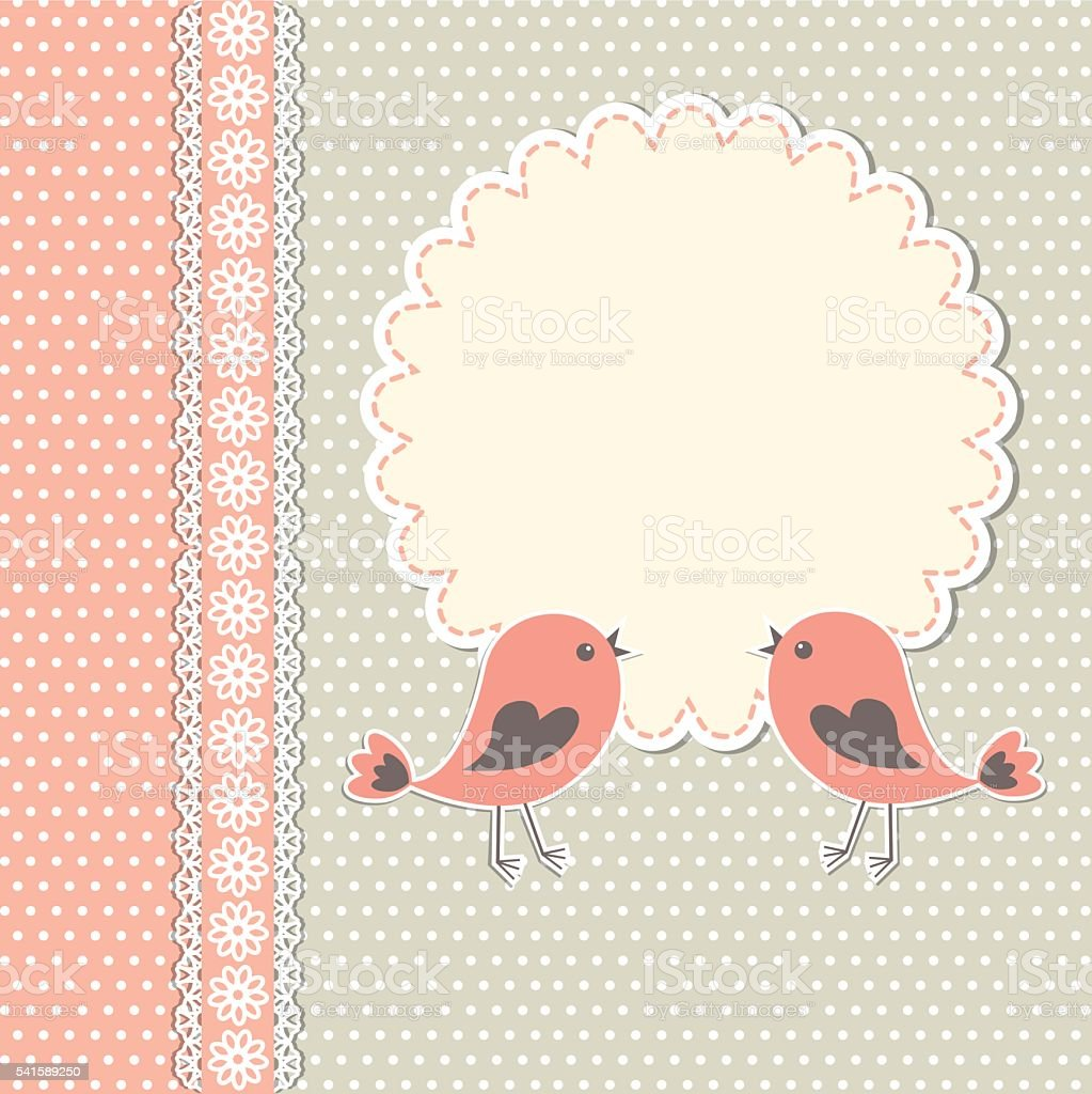 Runde Rahmen Mit Zwei Vögel Vektor Illustration 541589250 | iStock