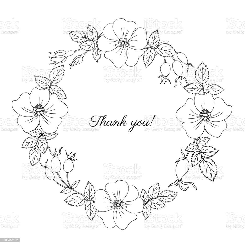 Round Frame Wreath Wild Rose Briar Hand Drawn Dogrose Berry Vector ...
