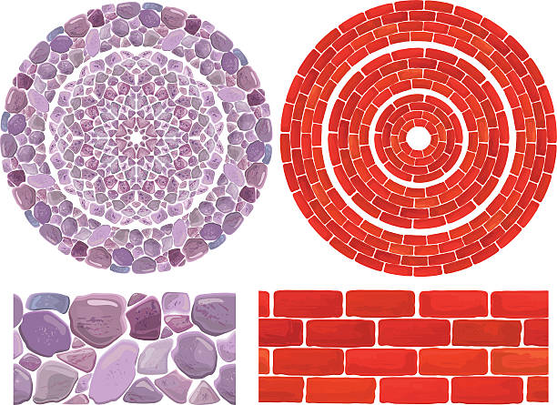 ilustrações de stock, clip art, desenhos animados e ícones de round frames com pedras e fundo de tijolo - lian empty