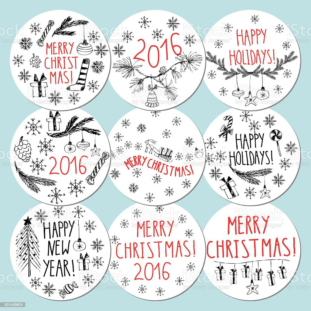 round gift tags and labels with lettering snowflakes presents stock