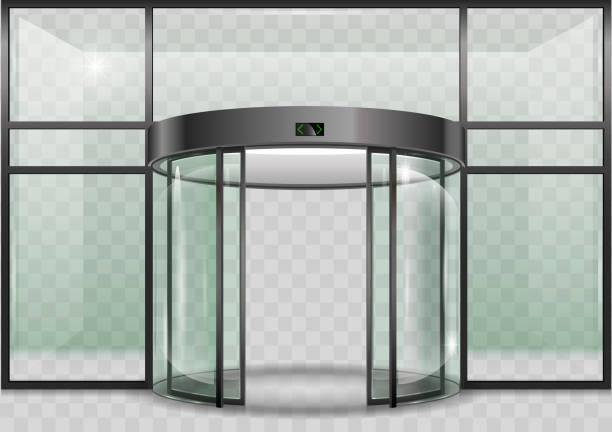 Round glass automatic door vector art illustration