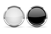 Round glass buttons. Set of black and white 3d icons with chrome frame. Vector illustration isolated on white background