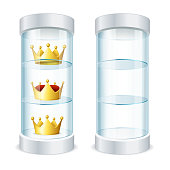 Round Glass Showcase with Shelves and Crowns Vector
