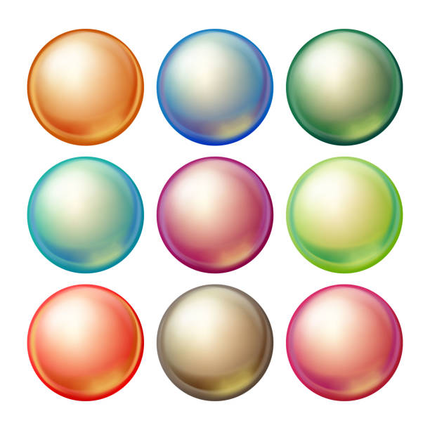 Round Glass Sphere Vector. Set Opaque Multicolored Spheres With Glares, Shadows. Isolated Realistic Illustration Round Glass Sphere Vector. Set Opaque Multicolored Spheres With Glares, Shadows. Isolated Illustration bead stock illustrations