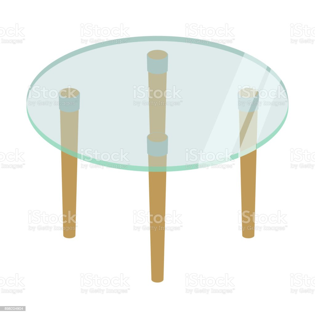 Ronde Glazen Eettafel.Ronde Glazen Tafel Op Hoge Poten Vectorillustratie Geisoleerd Op Een