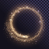 Round glitter frame of gold dust or stars on a transparent background