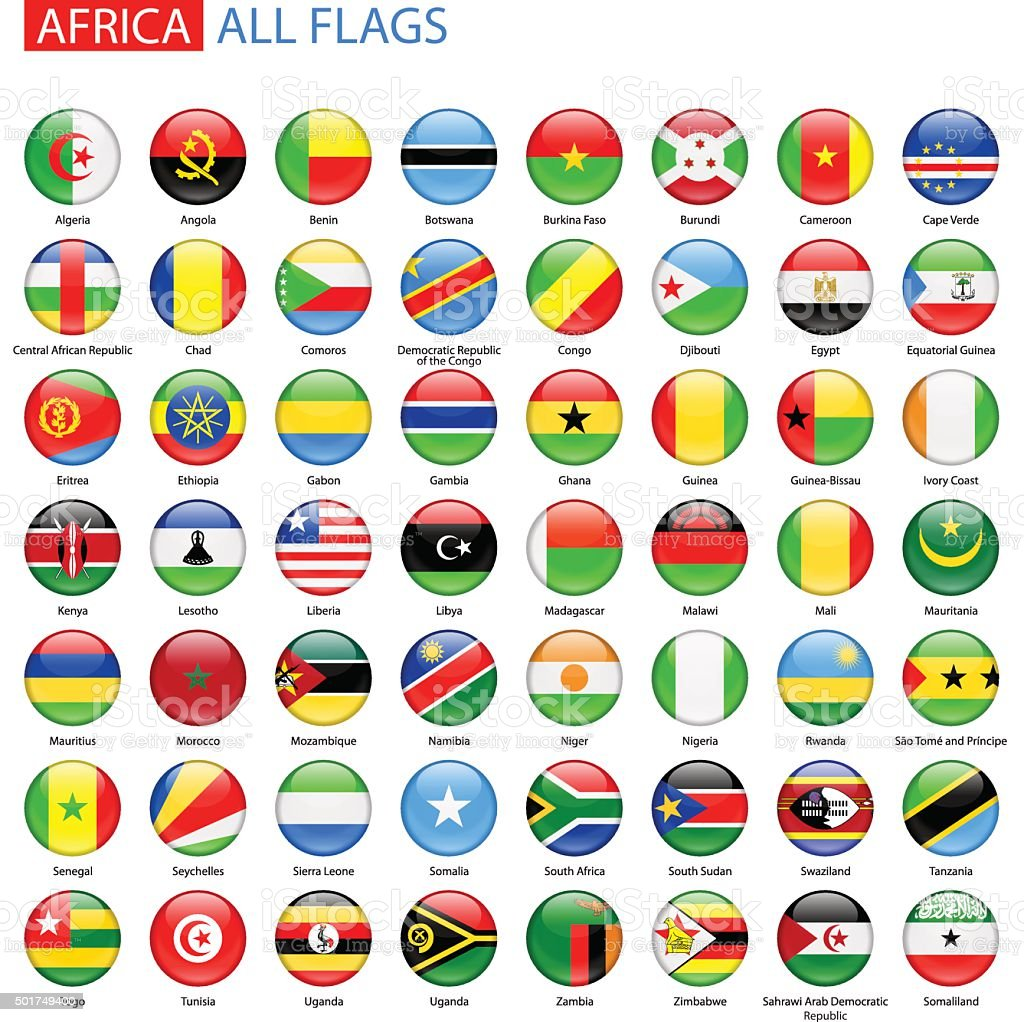 Round Glossy Flags of Africa - Full Vector Collection vector art illustration