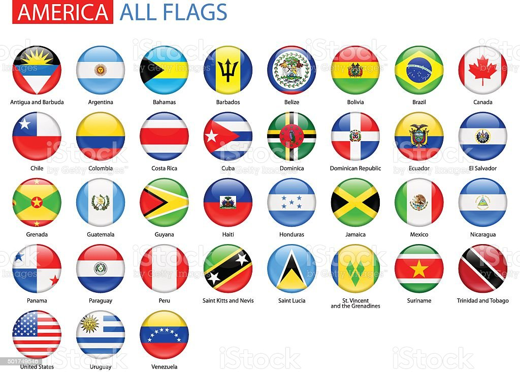 Round Glossy Flags of America - Full Vector Collection vector art illustration