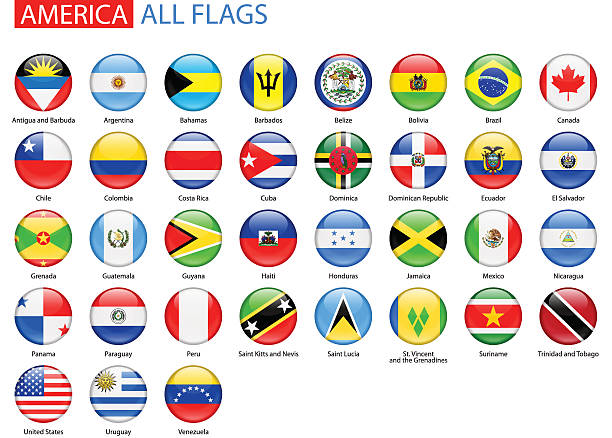 ilustraciones, imágenes clip art, dibujos animados e iconos de stock de redondo brillante flags of america-completa colección vectorial - bandera de ecuador