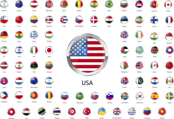 ilustrações, clipart, desenhos animados e ícones de rodada de ícones brilhantes bandeiras dos estados soberanos mundo - bandeira da coreia
