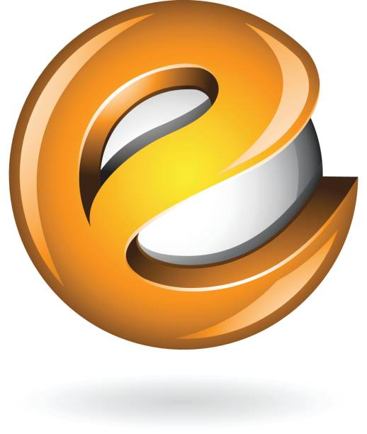 Ronda brillante letra E 3d icono naranja - ilustración de arte vectorial