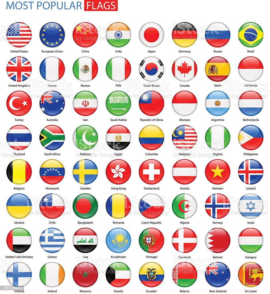 Round Glossy Most Popular Flags - Vector Collection