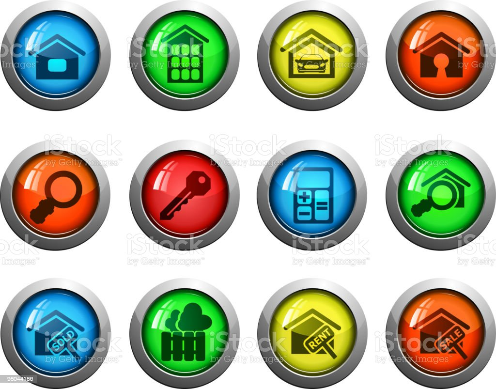 round glossy real estate icons royalty-free round glossy real estate icons stock vector art & more images of apartment