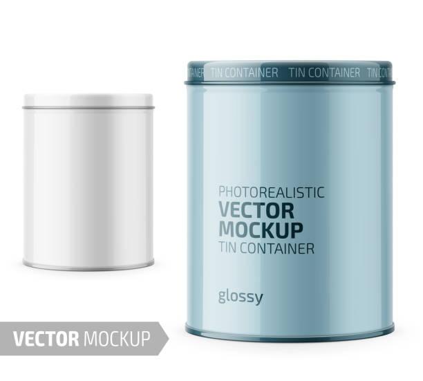 ilustrações de stock, clip art, desenhos animados e ícones de round glossy tin can template with sample design. - latão