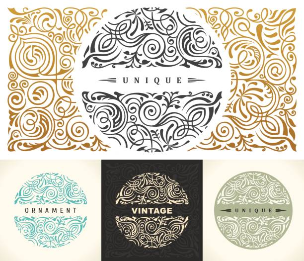 Round gold calligraphic royal emblem set. Vector floral symbol for cafe, restaurant, shop, print, stamp vector art illustration