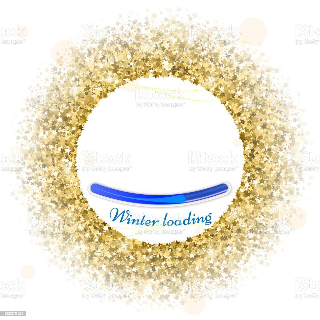 Round Gold Frame Or Border Of Random Scatter Golden Stars On White ...