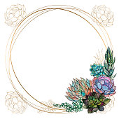 Round gold frame with succulents. Vector. Watercolor Graphics