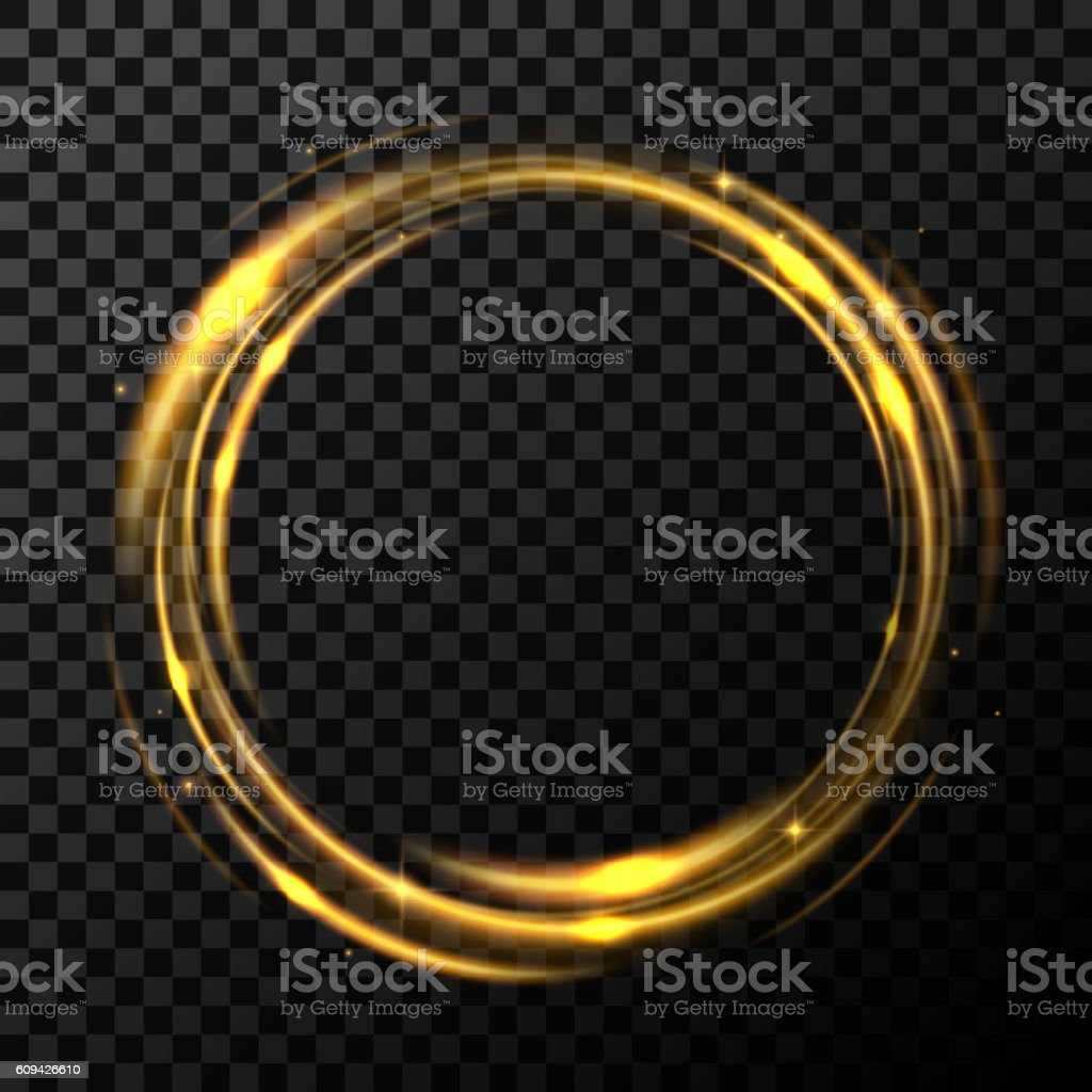 Round gold shiny in transparent background vector art illustration