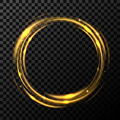 Round gold shiny in transparent background