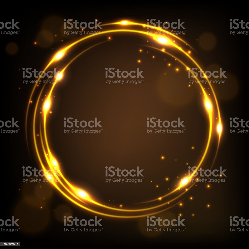 Round gold shiny with sparks background vector art illustration