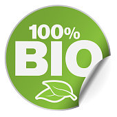 round green 100 percent Bio adhesive sticker or badge with one side curled up vector illustration