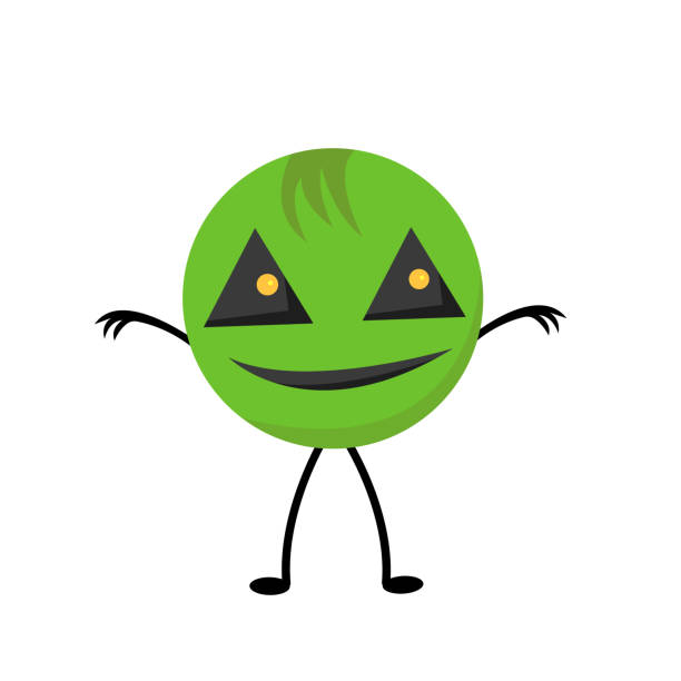 round green monster with big triangular eyes and a smile vector art illustration