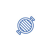 Round grill  line icon concept. Round grill  flat  vector symbol, sign, outline illustration.