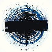 Circular grunge banner background design with paint splatter.