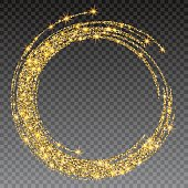 Round grunge golden frame on checkered background. Circle luxury vintage border, Label, logo design element. Hand drawn shape vector Illustration. Gold Brush abstract wave