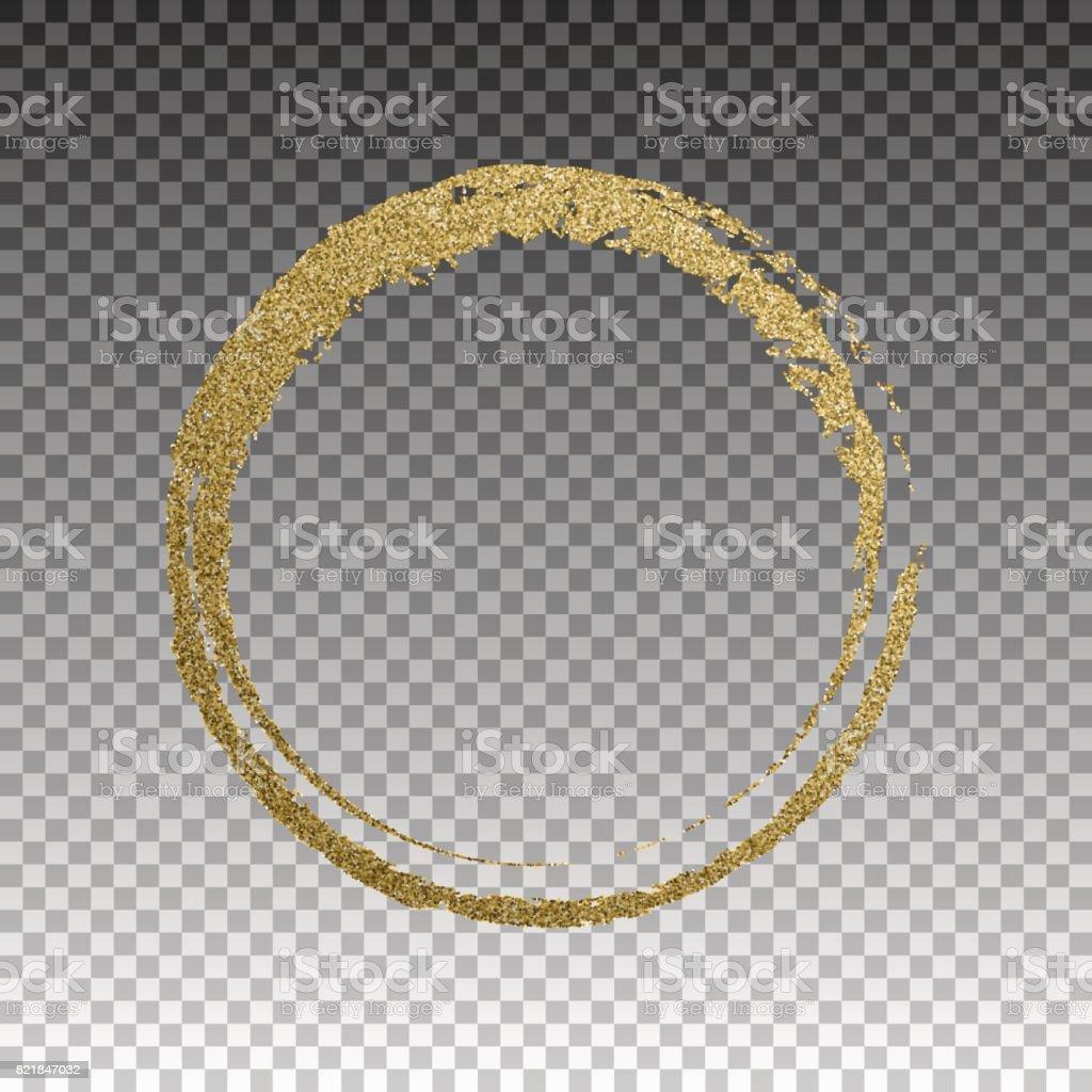 Moldura de ouro redonda grunge em fundo quadriculado - ilustração de arte em vetor