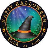 Round Halloween design with hat