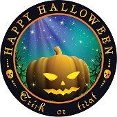 Round Halloween design with pumpkin