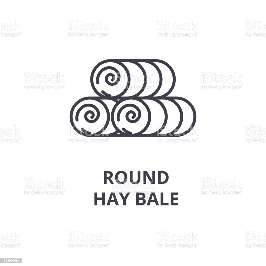 round hay bale line icon, outline sign, linear symbol, vector, flat illustration vector art illustration
