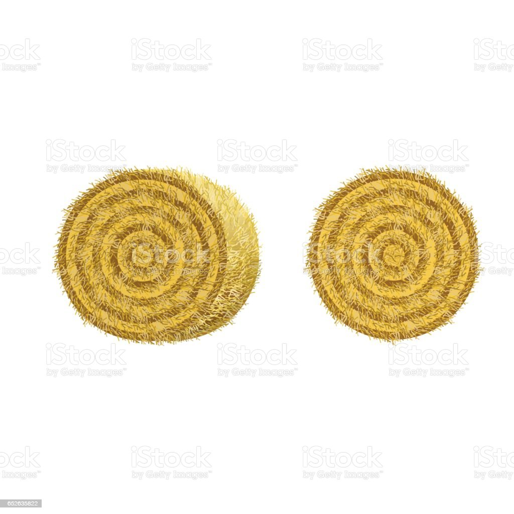 Round hay bales vector art illustration
