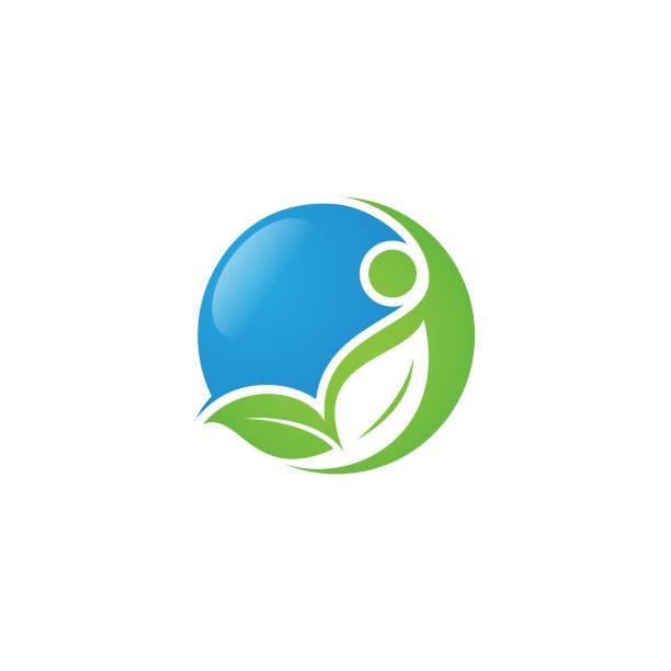 ilustraciones, imágenes clip art, dibujos animados e iconos de stock de ilustración de concepto de logotipo salud redonda vector humano con hoja y personas - medicina alternativa