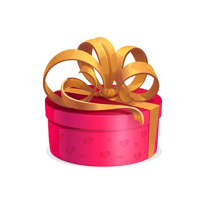 Round holiday gift with golden bow, vector box