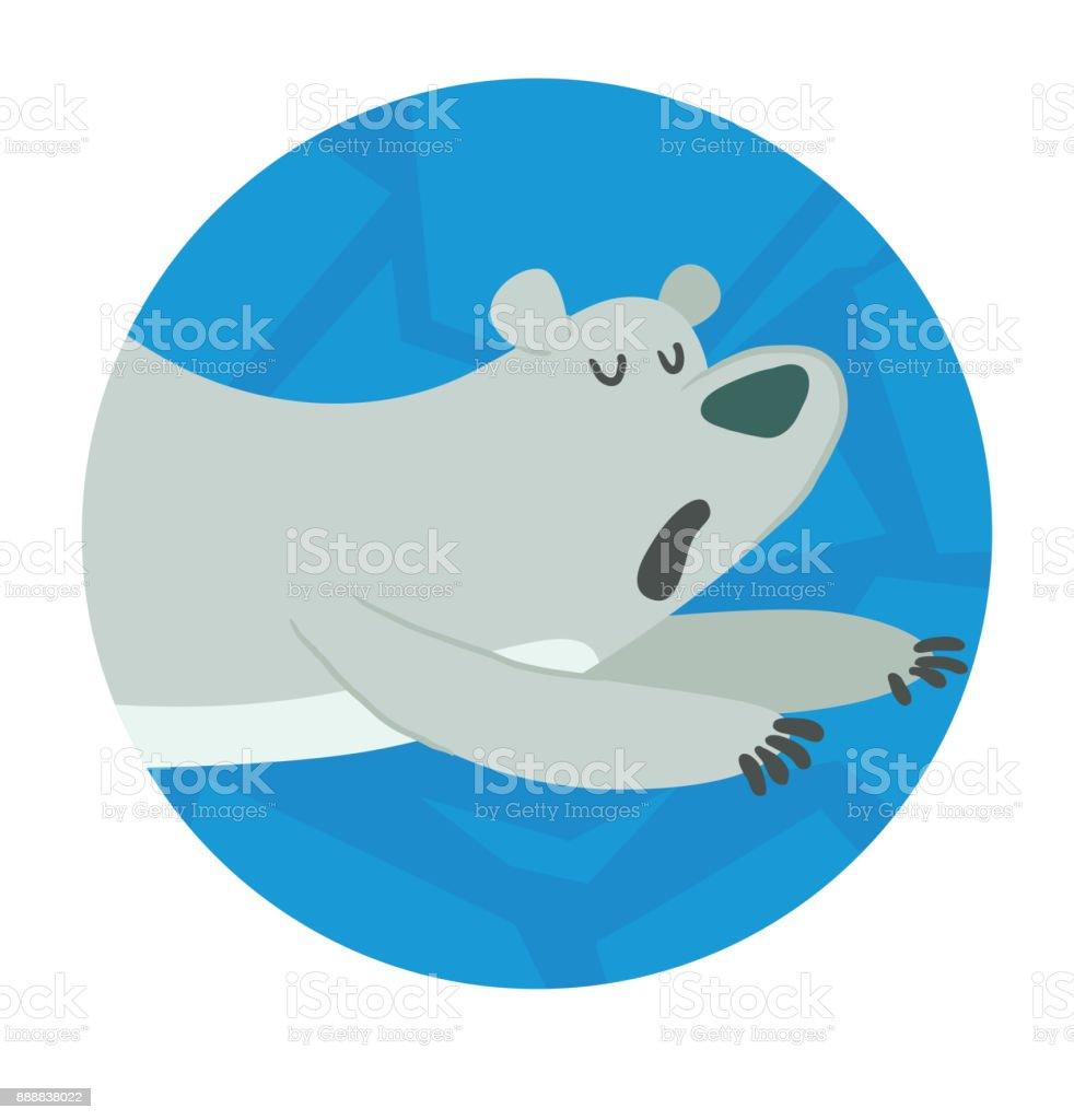 Round Ice Frame Cute Polar Bear Lying On His Belly Stock Vector Art ...