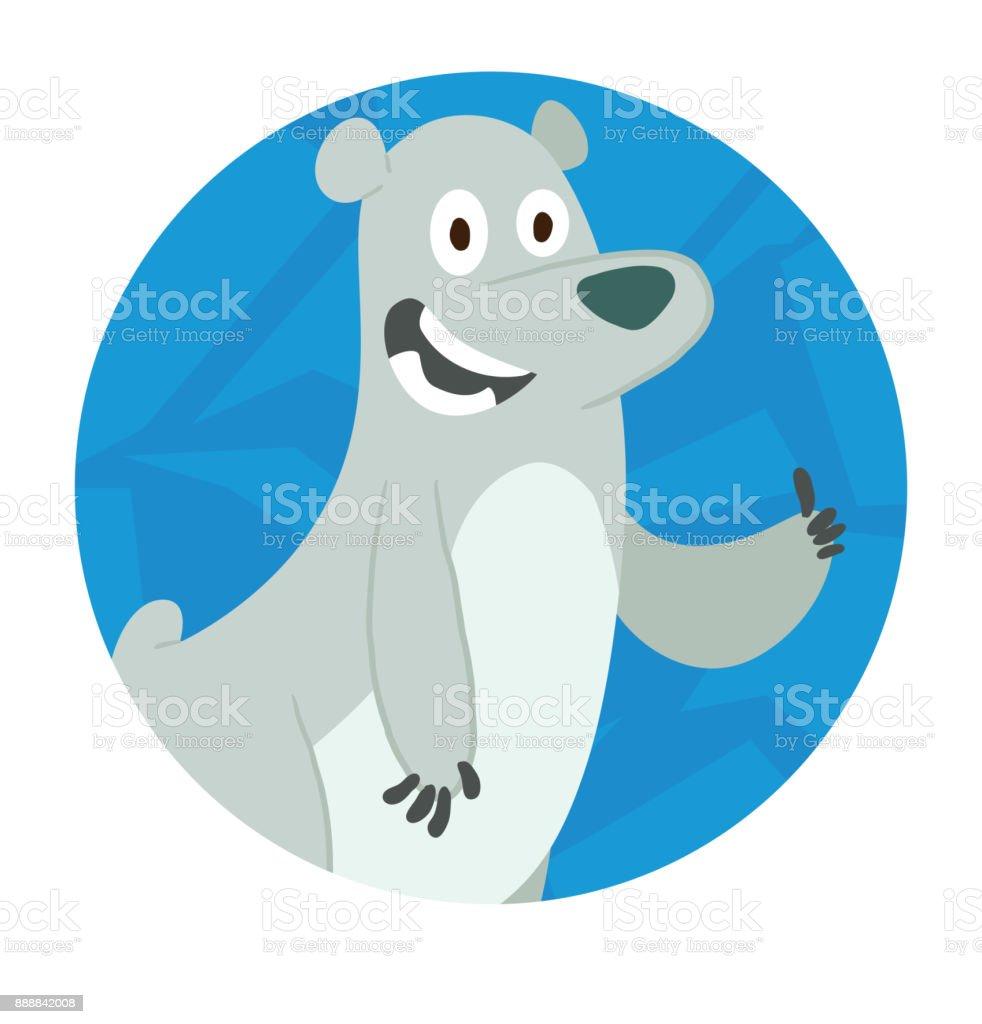 Round Ice Frame Cute Polar Bear Showing His Thumb Stock Vector Art ...