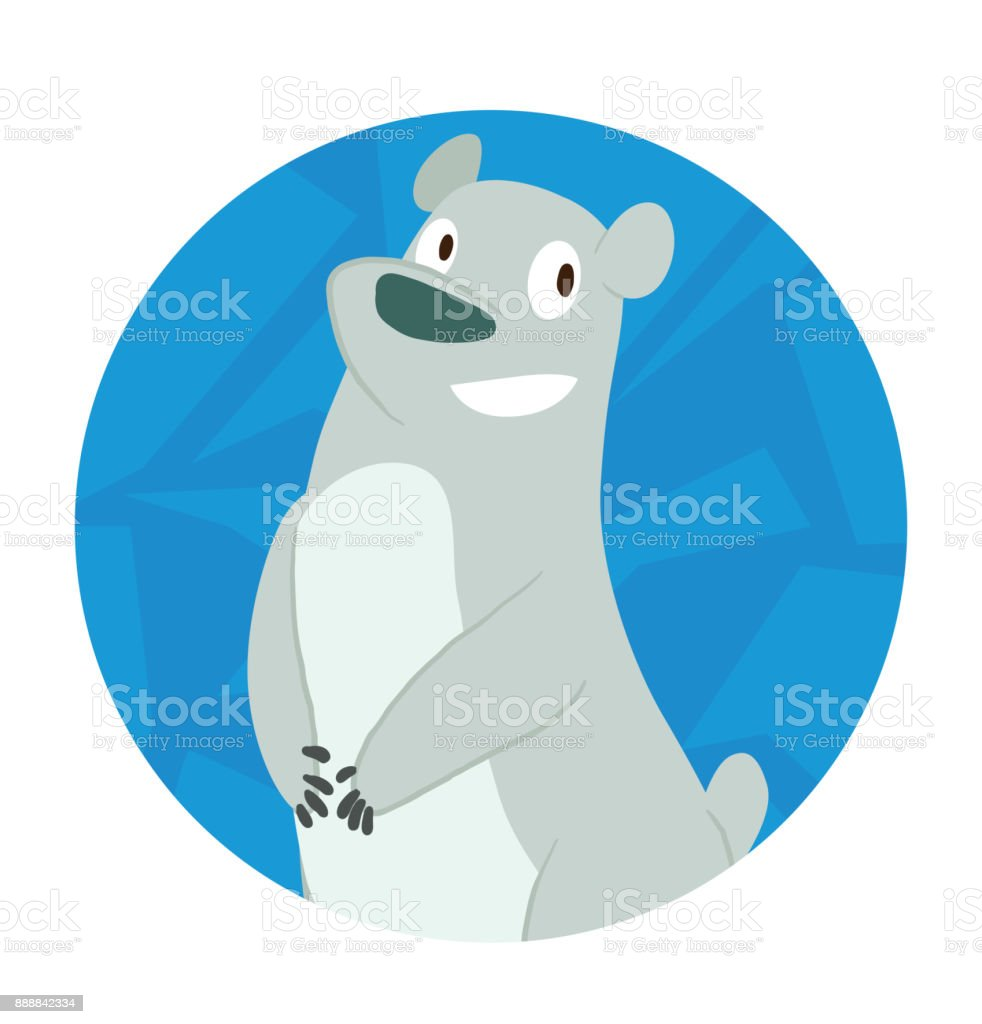 Round Ice Frame Cute Polar Bear Standing And Smiling stock vector ...