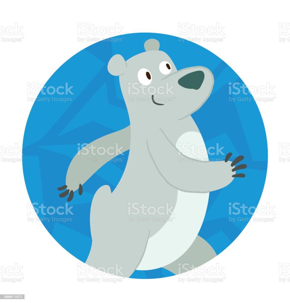 Round Ice Frame Cute Polar Bear Walking Somewhere Stock Vector Art ...