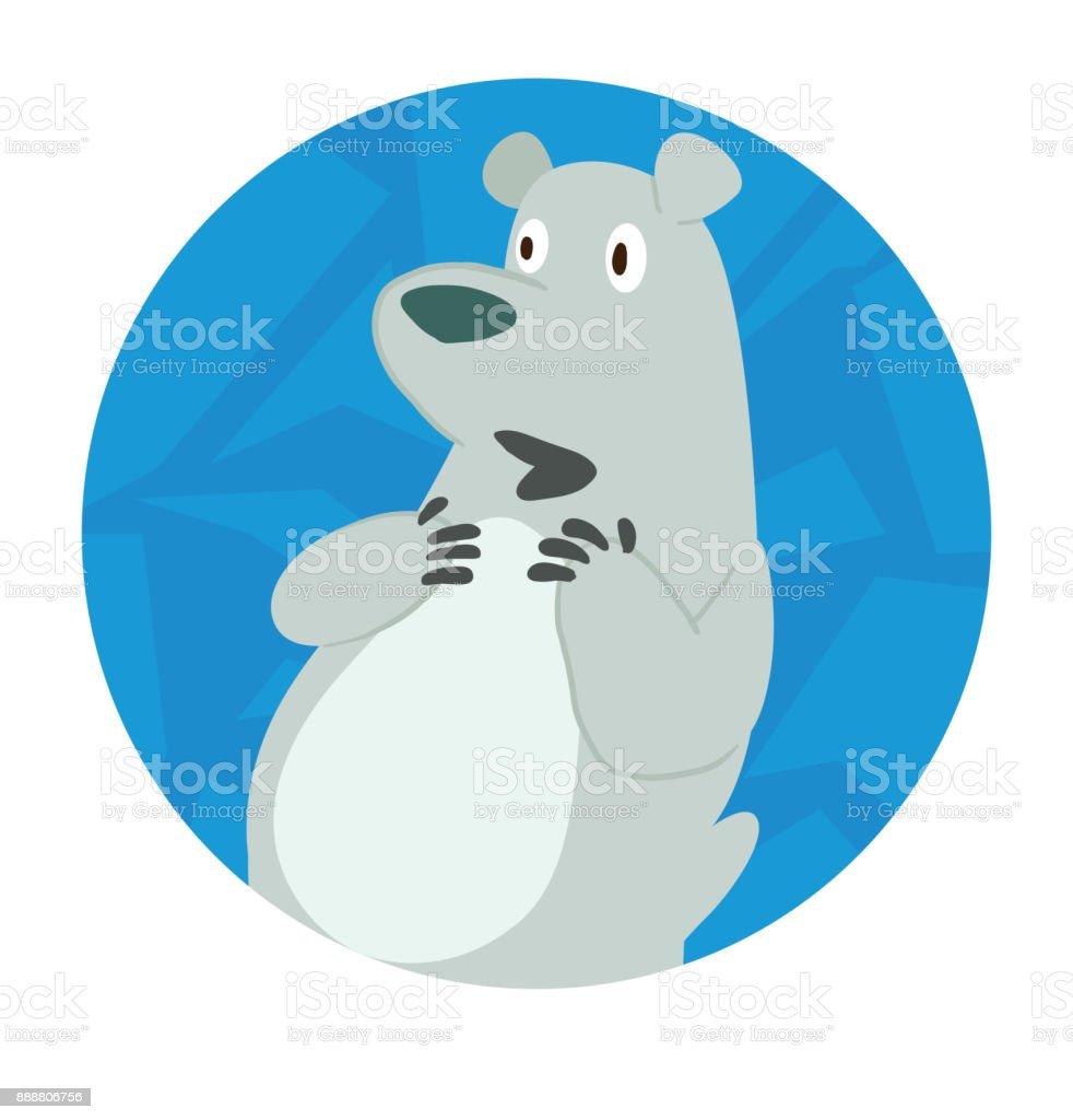 Round Ice Frame Cute Polar Bear Wondering Something Stock Vector Art ...