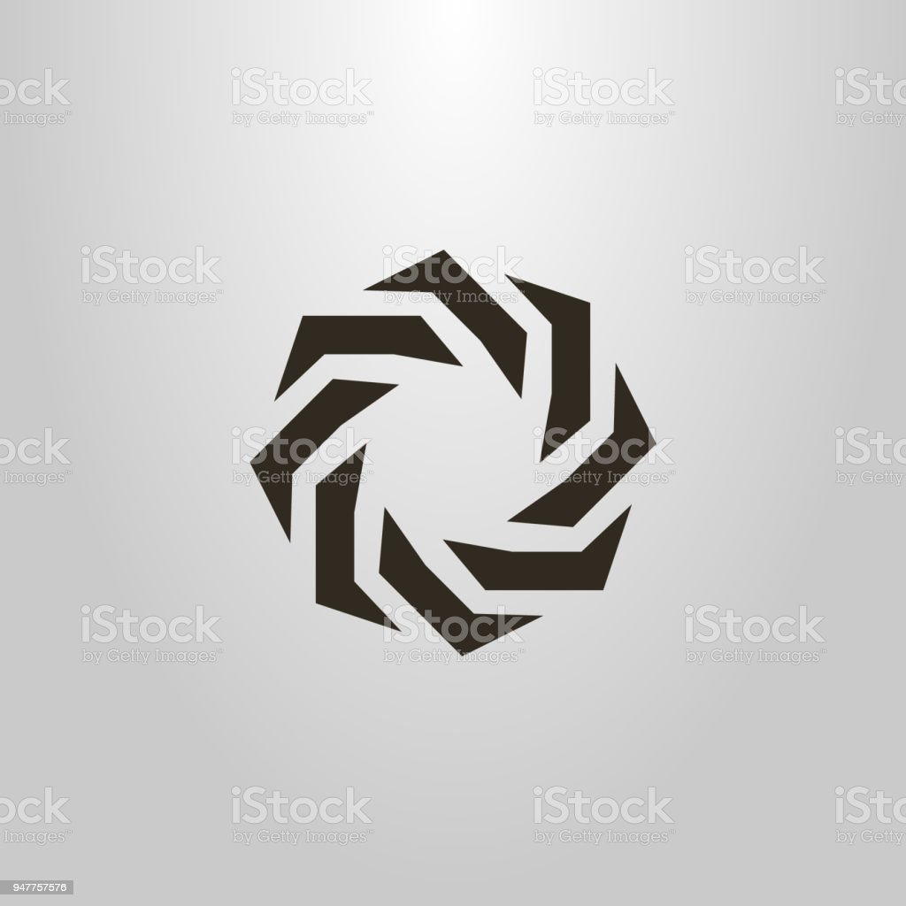 round icon. abstract figure. monochrome emblem vector art illustration