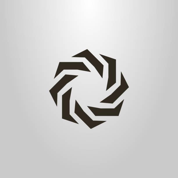 round icon. abstract figure. monochrome emblem round icon. abstract figure. monochrome emblem corona sun stock illustrations