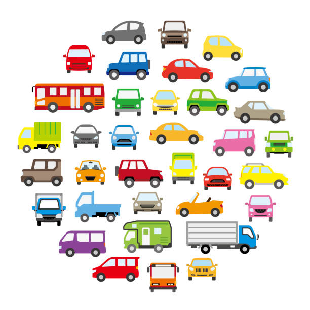 runde ikone nissegalerie von verschiedenen auto - pop-farbe - - landfahrzeug stock-grafiken, -clipart, -cartoons und -symbole