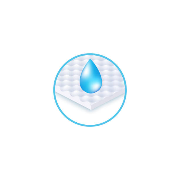 Round icon of waterproof fabric layer and drop realistic style Round icon of waterproof fabric layer and drop realistic style, vector illustration isolated on white background. Symbol of wet resistant material, water repellent section of mattress porous stock illustrations