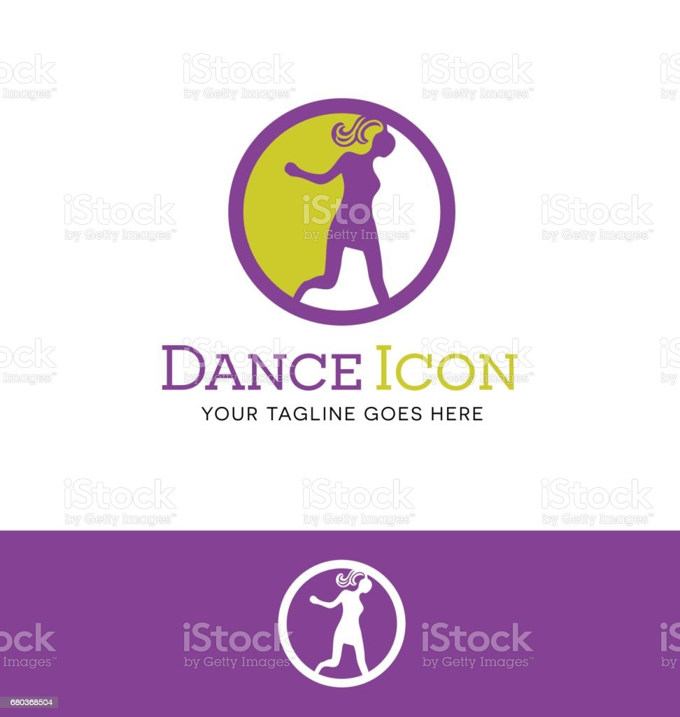 round icon of young fashionable girl dancing. Symbol for dance. vector illustration. royalty-free round icon of young fashionable girl dancing symbol for dance vector illustration stock vector art & more images of adult