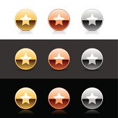 Luxury circle metal icon with white star sign web internet buttons. Gold, bronze, silver shapes with shadow and reflection on white, gray and black backgrounds.