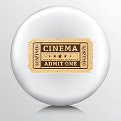 Round Icon With a Cinema Admit One Ticket